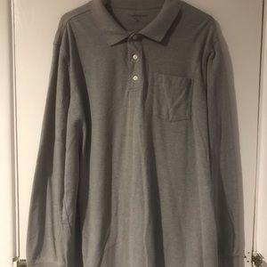 Gray knit long sleeved polo